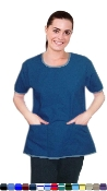 Round Neck With Border Piping Style 5 Pocket Scrub Set.