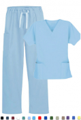 Women's Solid 5 Pocket Cargo Scrub Set With Pencil Pocket Top.