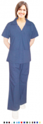 Women's Solid 4 Pocket Scrub Set With Flare Leg Pants.