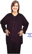 Scrub Jacket - Loose Fit Long Sleeves - Non Ribbed Cuffs