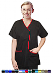 Women's 5 Pocket Contrast Piping L Style Solid Top Scrub Set.