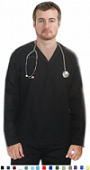 Unisex Scrubs - 6 Pocket V Neck Long Sleeve Solid Scrub Set.