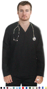 Unisex Scrubs - 4 Pocket V Neck Long Sleeve Solid Scrub Set.