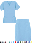 Women's Solid Scrub Skirt Set With 4 Pockets.
