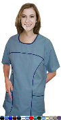 Scoop Neck Contrast Piping 6 Pocket Scrub Set With Boot Cut Pants.