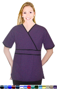 Crossover Double Piping Solid 2 Pocket Scrub Top.