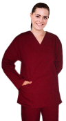 Women's Long Sleeve 2 Pocket V Neck Scrub Top.