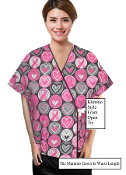 Mammography Patient Gowns - Pink Ribbons Print Front Open Mammo Exam Gowns