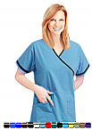 Crossover With Contrast Border Piping 2 Pocket Scrub Top.