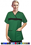 Women's 2 Pocket Fashion Contrast Scrub Top.