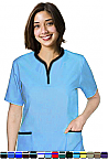 Women's 2 Pocket Tunic Style Solid Scrub Top.